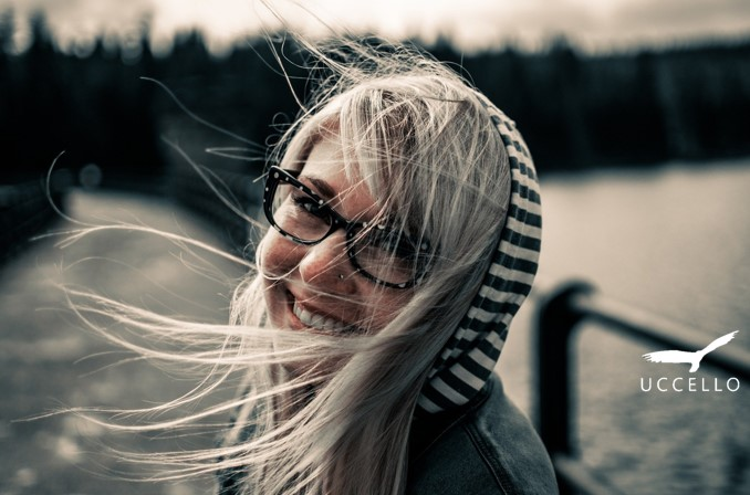 Windy day woman smiling