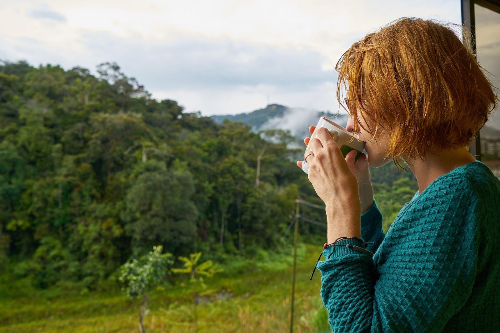 Woman drinking tea looking out of window