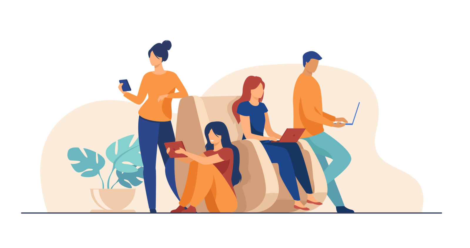 Digital device users spending time together