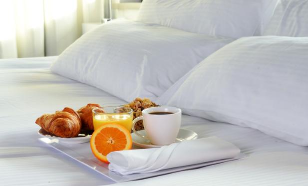 Breakfast tray in hotel room